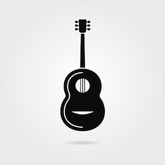 그림자와 함께 검은 기타입니다. 클래식 기타, 컨트리, 페스트, 기타리스트 장치 상점, 음악 만들기의 개념. 회색 배경에 고립. 플랫 스타일 트렌드 현대 로고 타입 디자인 벡터 일러스트 레이션