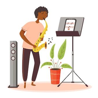 Черный парень играет на саксофоне. домой онлайн обучение музыке с помощью планшета. векторная иллюстрация плоский