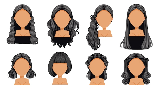 Black hair beautiful  hairstyle black hair woman set. modern fashion for assortment. long hair, short hair, fringe, curly hair salon hairstyles and trendy haircut vector