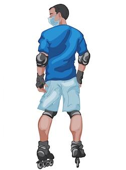 그가 롤러 블레이드를 타는 동안 외과 마스크를 쓰고 파란색 티셔츠와 반바지를 입은 검은 머리 남자
