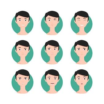 Набор иллюстрации черноволосый мужчина. брюнетт молодой человек в мультяшном стиле с разными выражениями лица и эмоциями. иллюстрация персонажей.