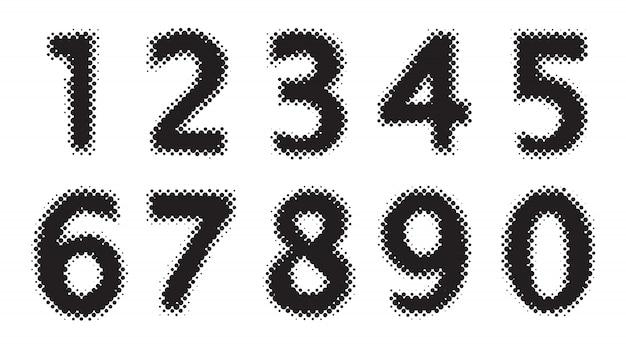 검은 색 하프 톤 숫자