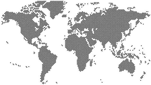 Black halftone world map