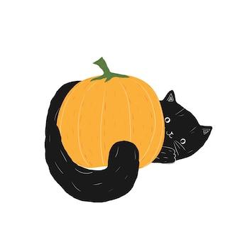 검은 할로윈 고양이와 호박 귀여운 낙서 솜털 가와이이 새끼 고양이 trick or treat 스톡 벡터