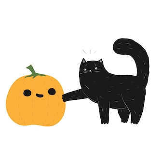 검은 할로윈 고양이 터치 호박 10월 가을 고양이 주식 벡터 평면 만화