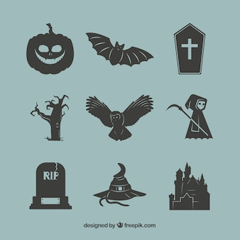 Black halloween elements