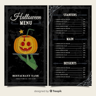 Black halloween menu template