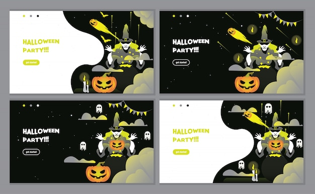 Black halloween party invitation landing page