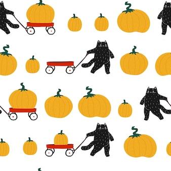 Black halloween pumpkin cute cat seamless pattern  cat with a red wagon autumn harvest festival