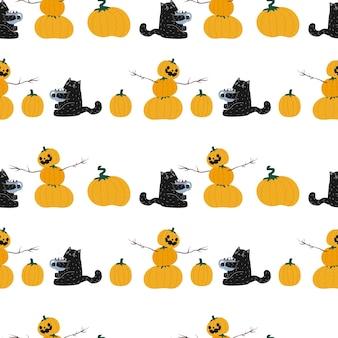 검은 할로윈 호박 귀여운 커피 고양이 원활한 패턴 고양이 가을 수확 축제