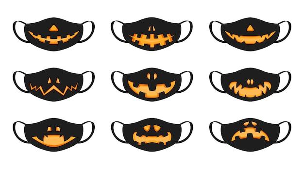 白い背景に設定された黒いハロウィーンのカボチャの笑顔マスク