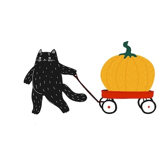 Black halloween pumpkins cat with red wagon fat cute hand drawn doodle cat pushing a cart