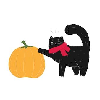 검은 할로윈 스카프 고양이 터치 호박 10월 가을 고양이 주식 벡터 평면 만화
