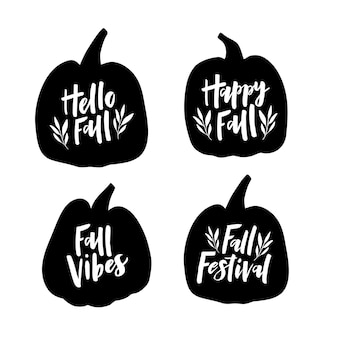 Black hand drawn lettering quotes on pumpkin. hello fall, happy fall. fall festival decoration. harvest season design. autumn greeting card. vector illustration isolated on white background.