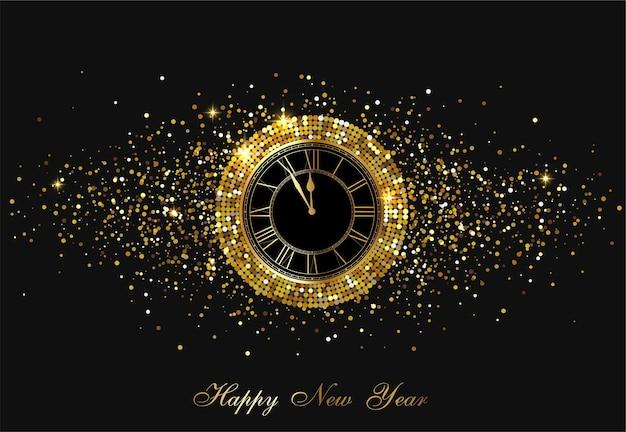 시계와 황금 색종이 배경으로 블랙 해피 뉴 이어 빛나는 포스터