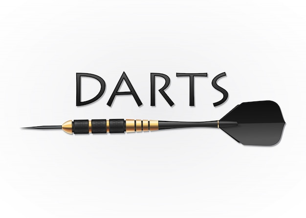 Black harrows with golden details for darts game
