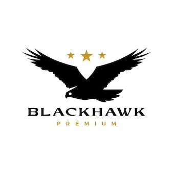 Черный ястреб орел летающий рев звезда логотип вектор значок иллюстрации