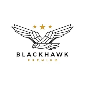 Черный ястреб орел монолинии летающий рев звезда логотип вектор значок иллюстрации