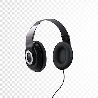 Black headphones. 3d realistic  of earphones isolated on white. technology device for listening music.