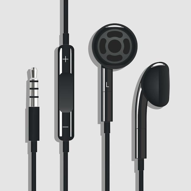 入り口のテーブルの上の黒いヘッドフォン上面図線形スタイル技術ベクトル図