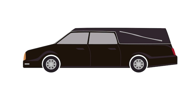 Black hearse isolated on white