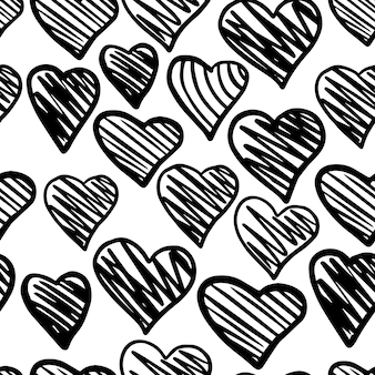 黒のハートのシームレスなパターン。バレンタインデーの背景。 2月14日の背景。手描きの飾り、背景のテクスチャ。結婚式のテンプレート。ベクトルイラスト。