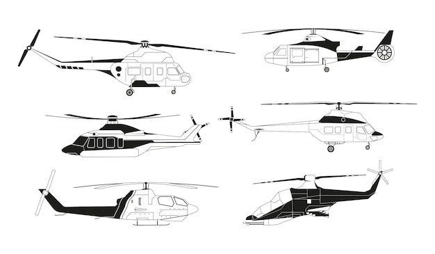 Black helicopters silhouettes.    avia transportation