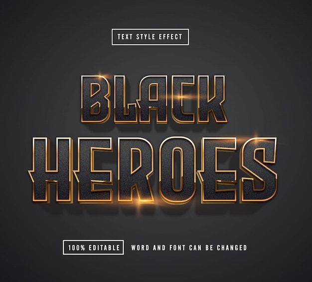 Black heroes text effect editable