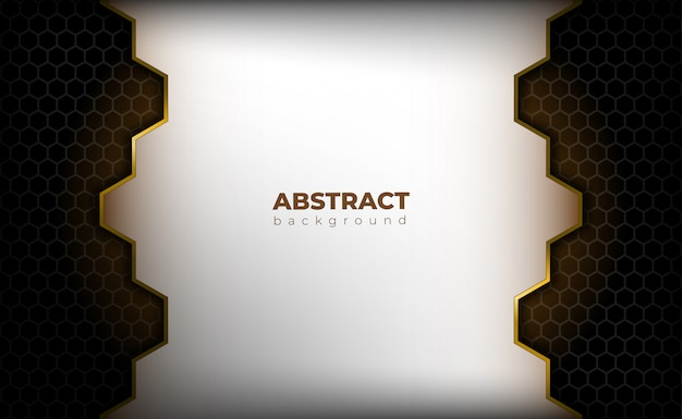 Black hexagon background with golden light