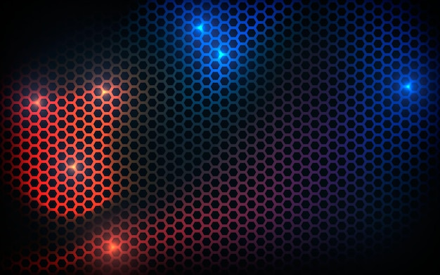 Black hexagon texture background with blue and orange light effect