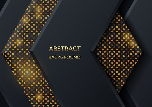 Black hexagon tiles textured with shiny background