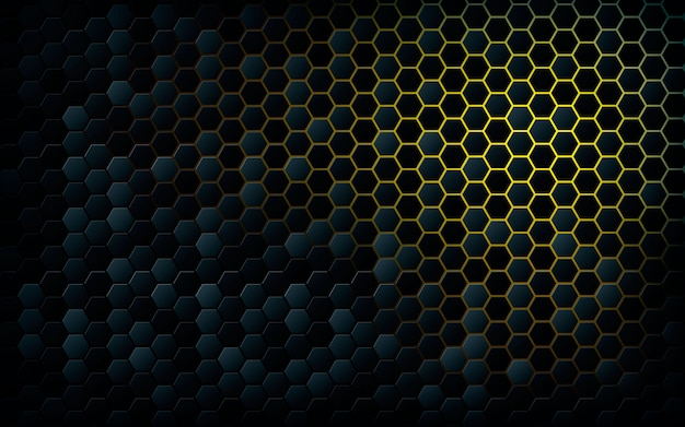 Black hexagon with light yellow background