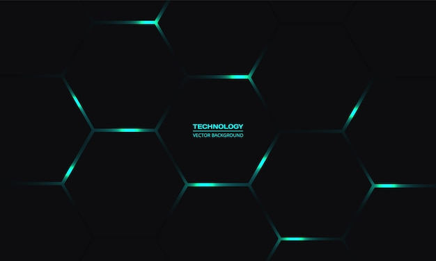 Black hexagonal technology background with turquoise bright energy flashes under honeycomb in dark abstract background.