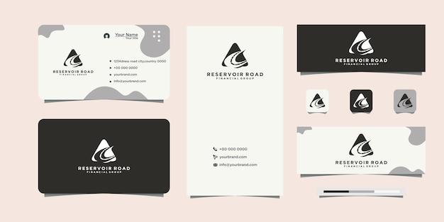 Черный логотип дизайна шоссе и визитная карточка