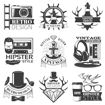 Black hipster emblem set different shapes with ribbon and without and descriptions of hipster style vector illustration