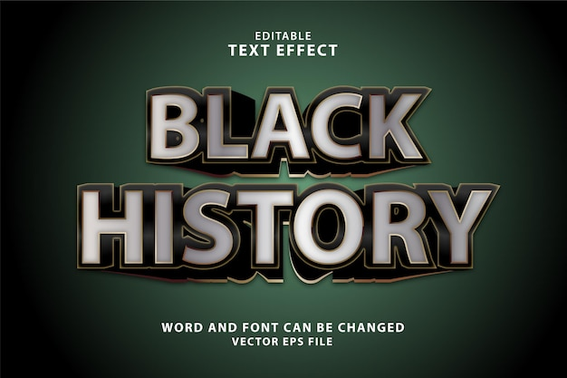 Black history gold 3d editable text effect