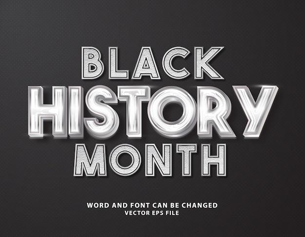 Черный месяц истории 3d редактируемый текстовый эффект