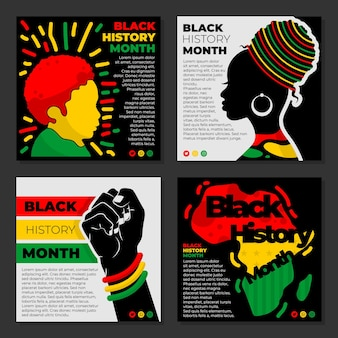 흑인 역사의 달 컬렉션 벡터 - instagram post
