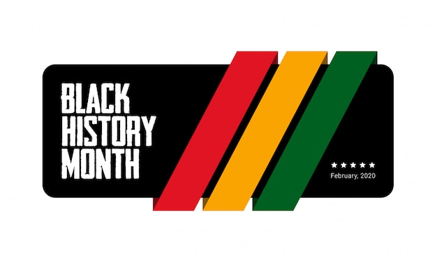Black history month green, yellow and red stripes banner. african-american history month - february.