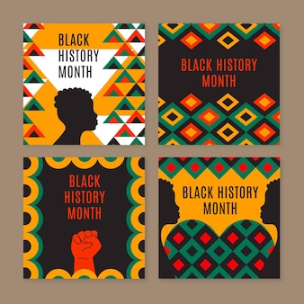 흑인 역사의 달 인스타그램 포스트 세트