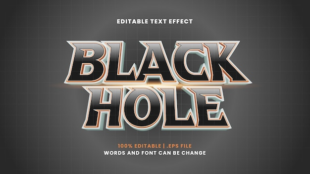 Black hole editable text effect in modern 3d style