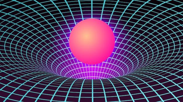 Черная дыра в неоновых тонах на иллюстрации 80-х