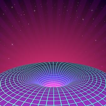 Черная дыра в неоновых тонах на иллюстрации 80-х или 90-х годов