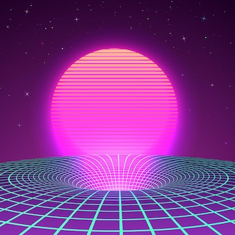 Black hole in neon colors by 80s or 90s