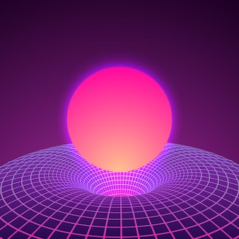 Black hole and warp space in neon colors by 80s