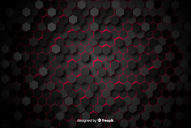 Black honeycomb with red light between cells