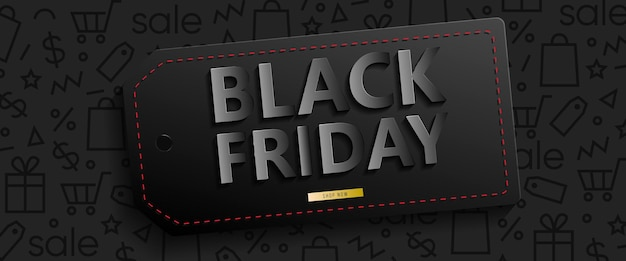Black horizontal banner for sales on black friday. black friday 3d text. vector banner for shop, web, store, business and other. vector eps 10