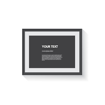 Black horizontal picture frame isolated on white
