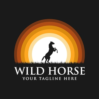 Black horse silhouette logo with sunset background