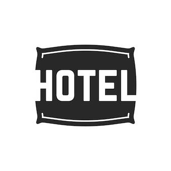 Черный логотип отеля с подушкой. концепция предмета ткани, визуальная идентификация, комфорт, общежитие, бессонница, вывеска местоположения. изолированные на белом фоне. плоский стиль тенденции современного бренда дизайн векторные иллюстрации